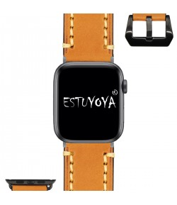 Pulsera de Cuero Genuino para Apple Watch Piel Naranja 42mm/44mm iWatch Series 5/4/3/2/1