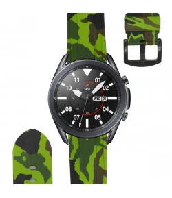 Pulsera de Silicona para Samsung Galaxy Watch 3 45mm / Gear S3 Frontier / Classic Camuflaje Ejercito, 22mm - Verde