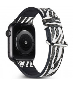 Pulsera Hibrida Animal Print para Apple Watch 38-40mm Series 6/SE/5/4/3/2/1 Diseño Salvaje Exclusivo - Zebra