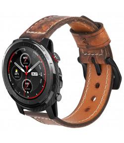 Correa de Cuero Genuino para Samsung Galaxy Watch 3 45mm / Gear S3 Frontier / Classic ,Diseño Único Hecha a Mano, 22mm - Grey